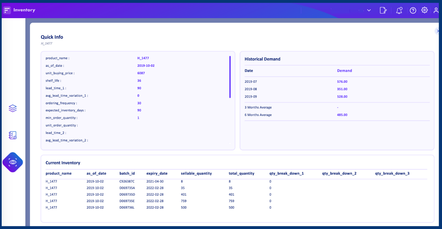 quick info in Inventory planning module